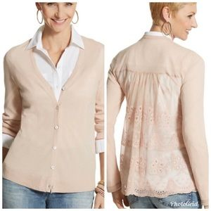 NWT Chico's Leila Lace Button Front Cardigan Blush